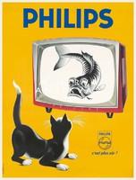 Vintage televízió reklám hirdetés plakát reprint nyomat tv készülék fekete macska cica harcsa hal