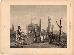 A vásárban, fametszet 1881, metszet, nyomat, 22 x 30 cm, Ország - Világ, báb, játék, vásár, újság