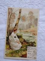 Antik/szecessziós, litho/litográfiás, tájképes képeslap, hölgy fehér ruhában, vízpart, nap, erdő1900
