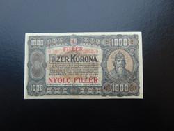 1000 korona 1923 8 fillér Felülbélyegzés ! Nagyon szép ropogós bankjegy
