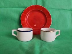 Antik Zsolnay barátnőzős szett, 2 kávés csésze és egy sütis-kekszes tányér
