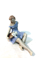 Drasche porcelán lány, galambbal