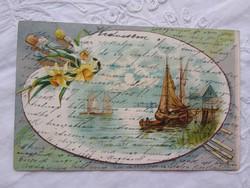 Antik/szecessziós, litho/litográfiás, tájképes képeslap, hajó, holdfény, vitorlás, nárcisz 1903