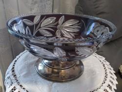 Antik bécsi dianás jelzésű kristály asztalközép