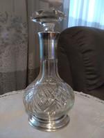 Antik likörös kristály kiöntő ezüst tappal és ezüst nyak résszel