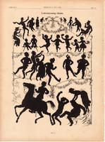 Látványosság idején, nyomat 1881, 22 x 30 cm, Ország - Világ, árny, fény, játék, egy szín, újság