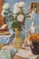 Kastaly István (1892-1991): Porcelán akt virágok között, 1977 - asztali csendélet, keretezve