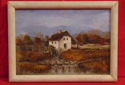 Zsupán József (1950 - ) Vízimalom, 1993 - Nagyon igényesen elkészített olaj-farost alkotás