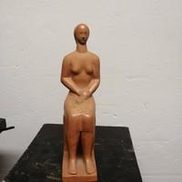 """OSVÁTH MARIA  szobrász, terrakotta NŐI  szobor. """" Varokozás""""  30 cm Ritka!"""