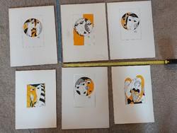 Hat darab Szász Endre szignós grafika, tusrajz, méret jelezve!
