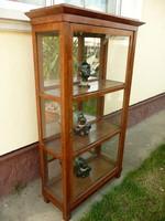 Eredeti antik, hátul teli tükrös, körbe üveges biedermeier vitrin / szekrény az 1800-as évekből