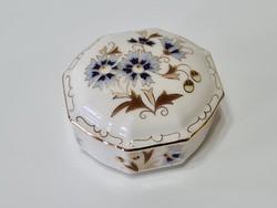 Zsolnay Búzavirág mintás nyolcszög alakú bonbonier
