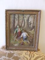 Vadászjelenetes ,festett öntvény kép ,falikép