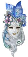 Kékes maszk szobor fali dísz