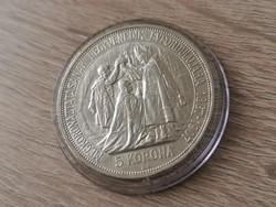 1907 Ferenc József ezüst 5 korona 24 gramm 0,900 Ritkaság ez az állapot!!Koronázási!!I
