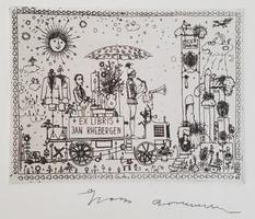 Gross Arnold -  Ex Libris J. Rhebergen 9 x 12 cm korai rézkarc