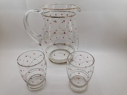 Pöttyös üveg kancsó 2 darab pohárral