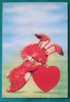 Húsvéti,nyuszis szívecskés képeslap,üdvözlőlap,postatiszta