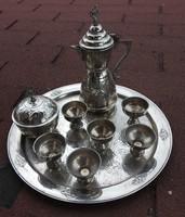 Oszmán fém kávés készlet - 6 személyes