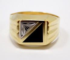 Sárga-fehér arany köves pecsétgyűrű (ZAL-Au98100)