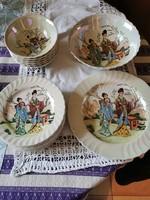 Lüsztermázas jelenetes porcelán süteményes és kompótos készlet