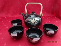 Japán mázas kerámia, négy személyes teáskészlet.