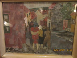 Scholz Erik : Pécsi utca  olaj farost 60x80 cm keret nélkül, képcsarnokos kerettel