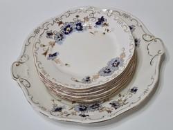 Zsolnay Búzavirág mintás süteményes készlet - Kopottas -