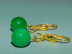 Jade ásvány Gömb Aranyozott Fülbevaló