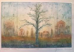 Gross Arnold - Emlékek kertje I. 20 x 31 cm színezett rézkarc