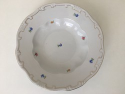 Zsolnay barokk virágmintás tányér aranyozott