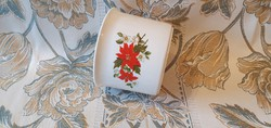 Zsolnay porcelán kaspó, fehér alapon piros/zöld, Mikulásvirágos mintával.