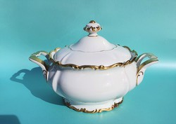 Német Reichenbach Thuringia barokk stílusú porcelán leveses tál és szószos tál gyönyörű darabok
