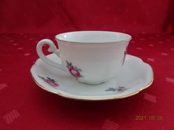 Csehszlovák porcelán, rózsa mintás kávéscsésze + alátét.