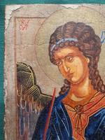 Antik Ikon Gábriel Arkangyallal Novgorodi Iskola
