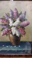 Virág, orgona, csendélet, olaj 1965-