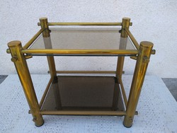 Réz szerkezetű dohányzó asztal, füstüveggel
