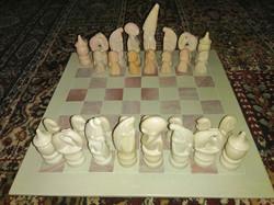 Kő sakk-készlet, faragott ásvány sakk gemstone chess set