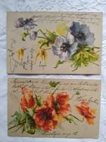 2 db antik/szecessziós, litho/litográfiás, dombornyomott képeslap/üdvözlőlap pipacs, mákvirág