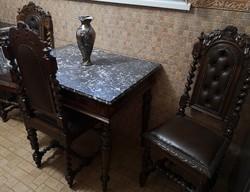 Ónémet márványlapos asztal és dúsan faragott 3 szék