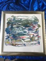 Szignózatlan keretezett absztrakt festmény .