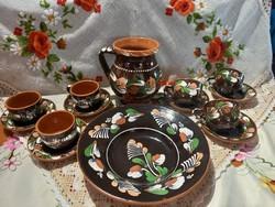 Sárospataki kerámiak kávés csésze szett köcsög falitányér