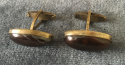 Silver cufflinks with brown agate stone