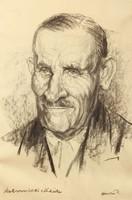 Hévíz redhead portrait collection, 20 pcs., Historical relics, charcoal drawings, 50s