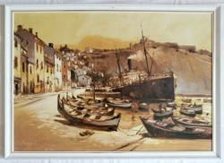 """Bánfalvy Ákos """"Cassis, Dél-Franciaország"""" olajfestmény ingyen postával"""