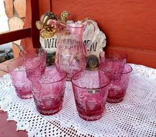 Gyönyörű Ajkai Hand Cut Crystal Made In Hungary limonádés kristály készlet Gyűjtői darabok