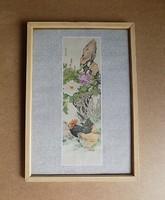Üvegezett fa képkeret nyomattal kakas tyúk baromfi 29*42 cm (n)