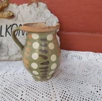 14  cm magas pöttyös kerámia szilke köcsög korsó nosztalgia, paraszti dekoráció