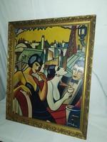 1,-Ft Gyönyörű Art-Deco festmény!Ismeretlen alkotó!Francia életkép!