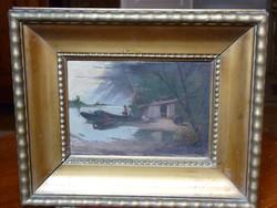 Eladó Pörge Gergely: Halásztanya,1905. című olaj, falemez festménye